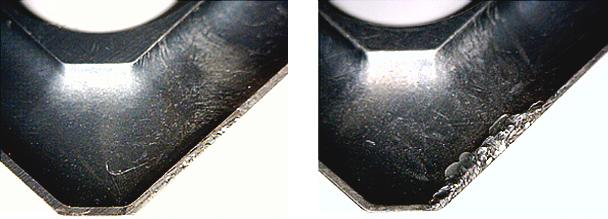 La macrographie montre l'usure de la plaque'e lubrifiée avec Vasco 7000 après 150 minutes d'usinage – La plaquette détériorée résulte d'une usure constatée après 120 minutes avec le meilleur des lubrifiants précédemment sélectionné par Ingersoll Machine Tools